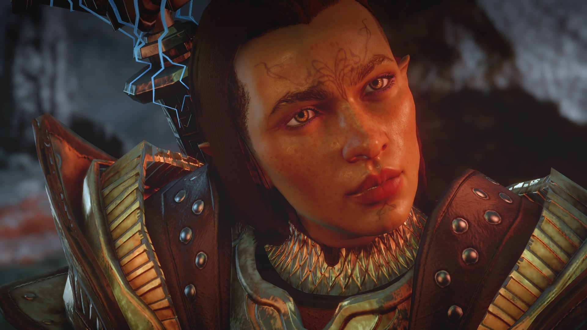 The character I made in the game's character creator. Her name is Serani Lavellan. She's the avatar on my Twitter.