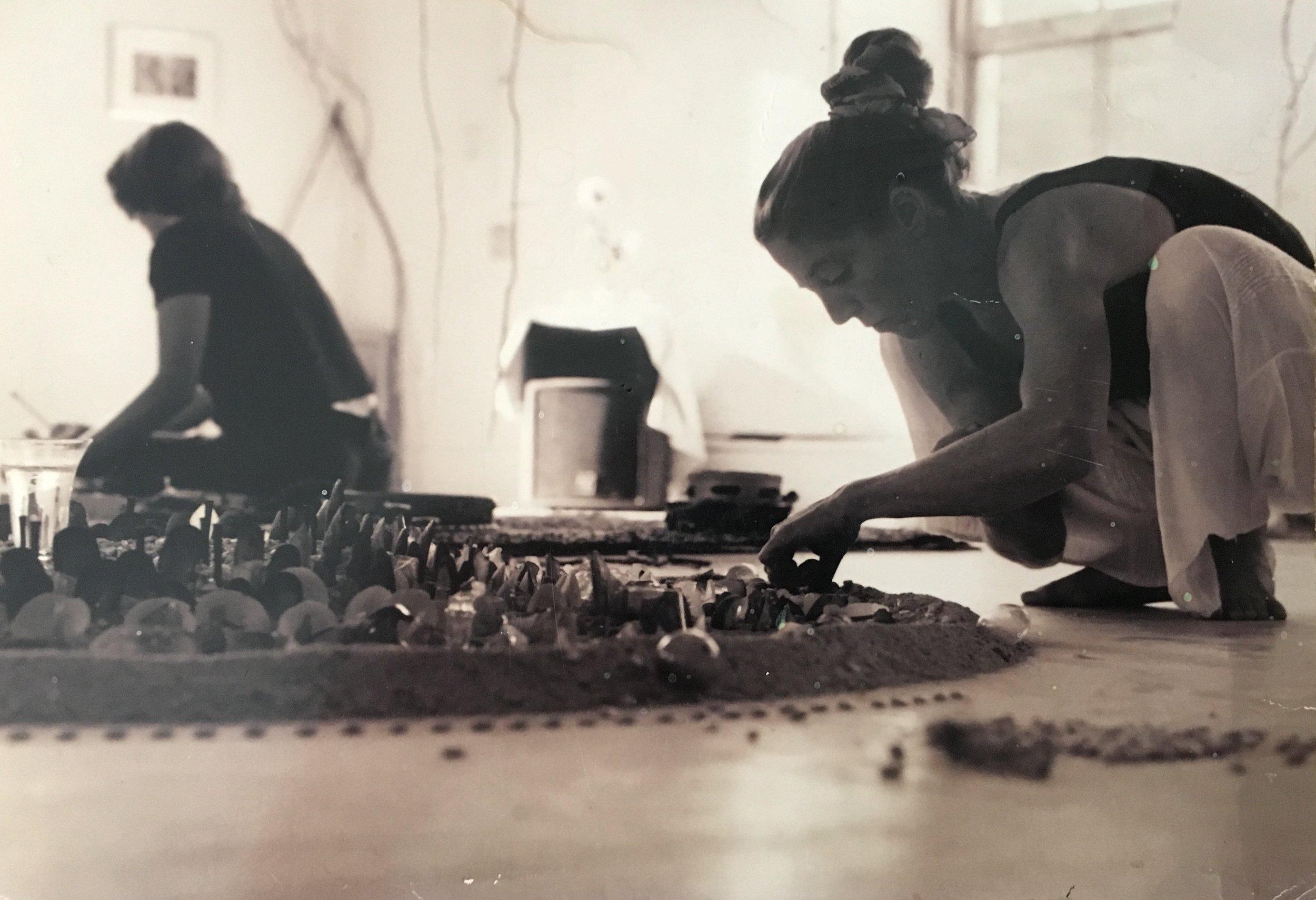 Karen Dolmanisth with Composer, Musician, Helen Harrison Photograph: Michael Billingsley Action Performance by Sculptor, Dolmanisth Sound Improvisation, Helen Harrison