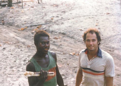 Tom and his friend John Katumbu while conducting field research in Papua New Guinea