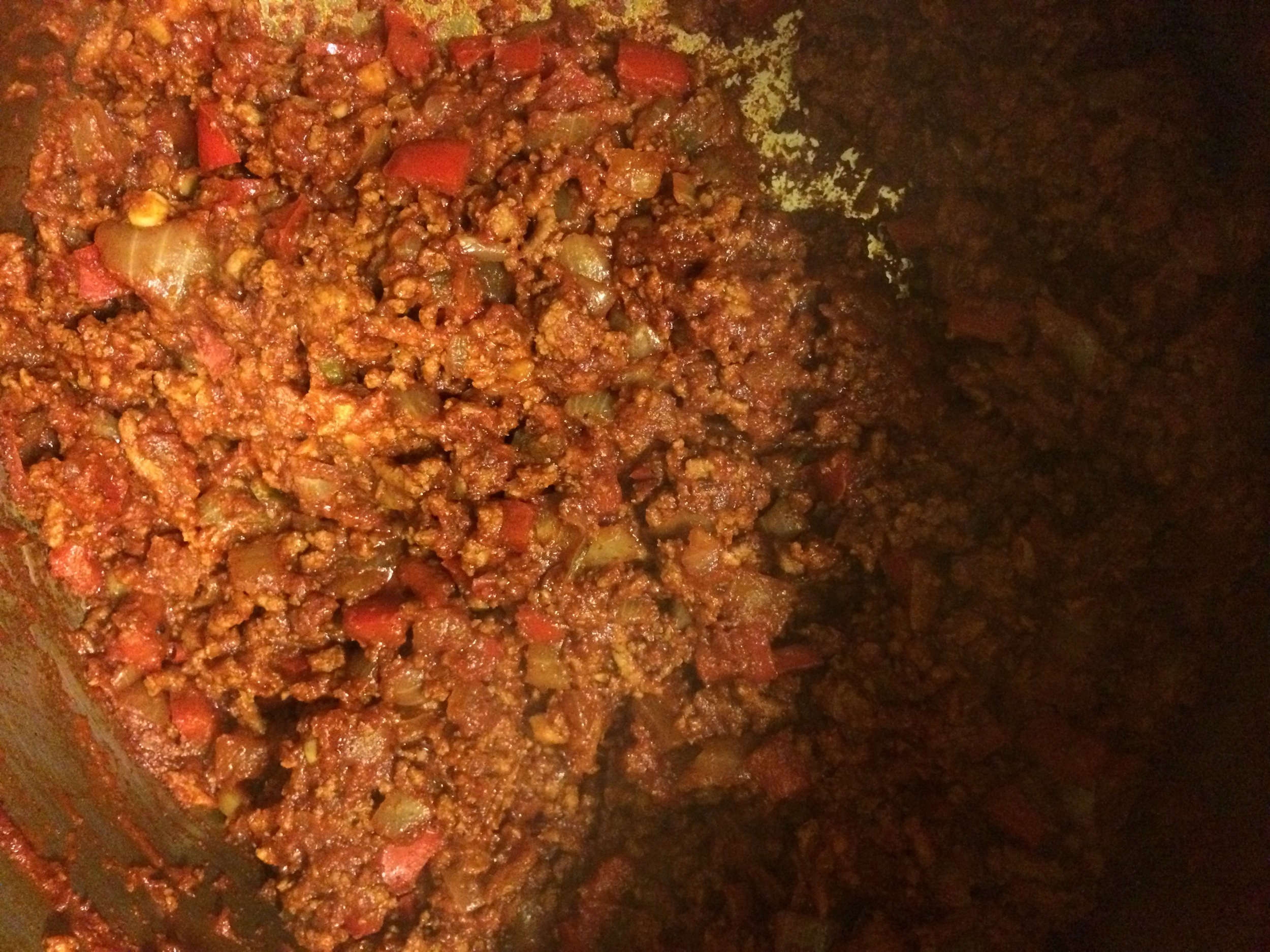 After adding spices & tomato paste