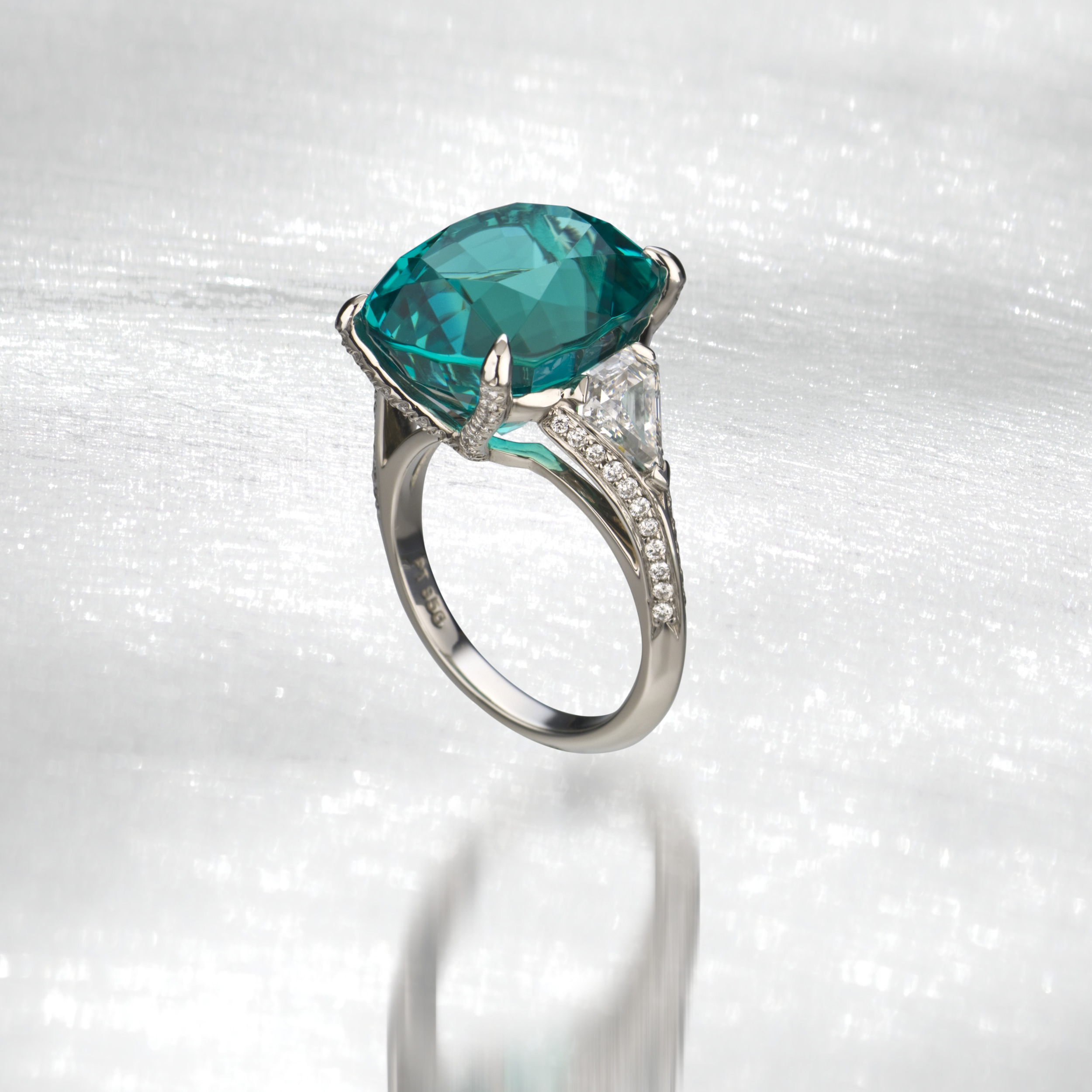 3rd Place 2009 Spectrum Award, Classic Jewelry Division  14ct Tormaline & Diamond Ring