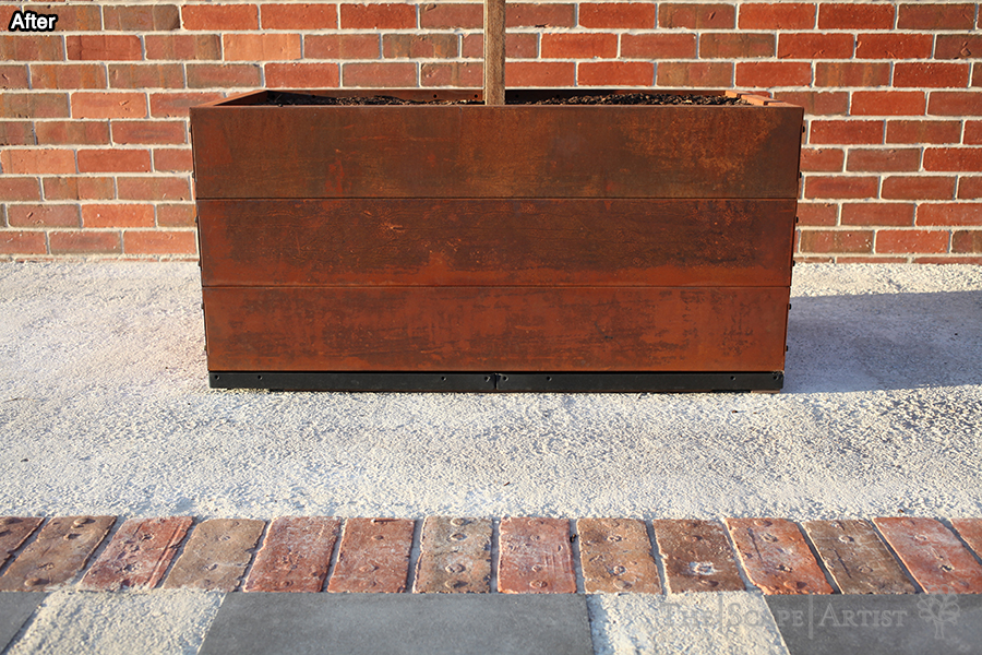 Rustic planter & brick paving