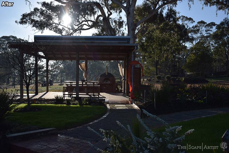 Outdoor seating area in landscaped garden near Ballarat