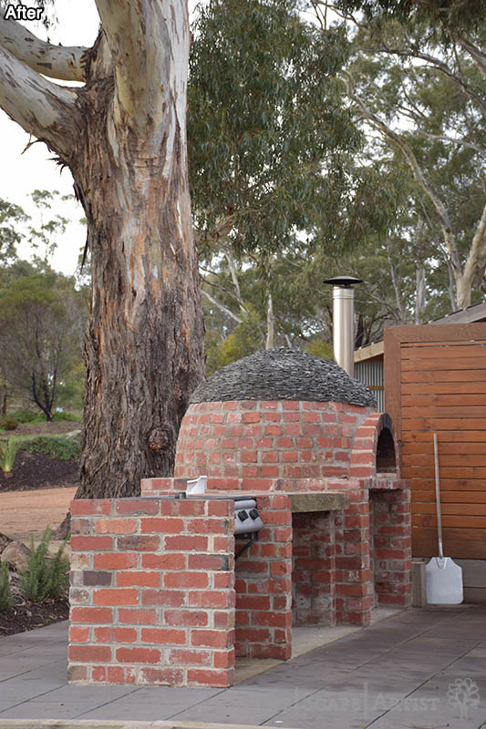 Pizza oven in landscape garden near Ballarat