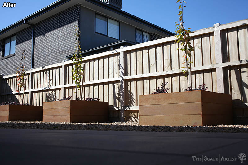 Garden beds in freshly landscaped garden near Ballarat