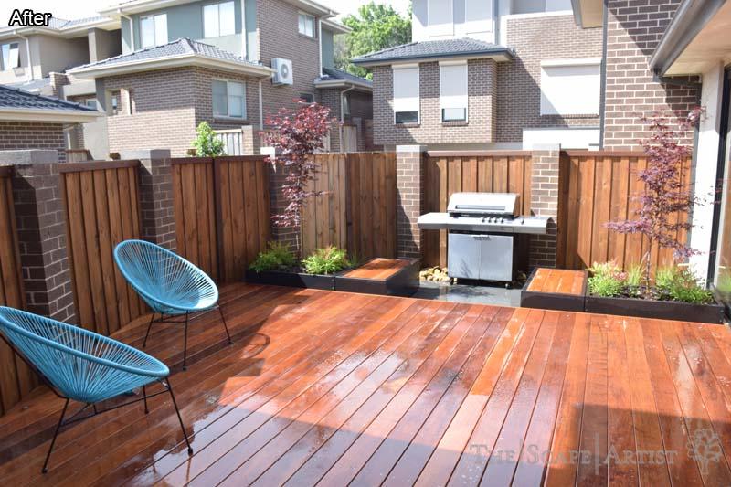 Brand new deck in landscape garden