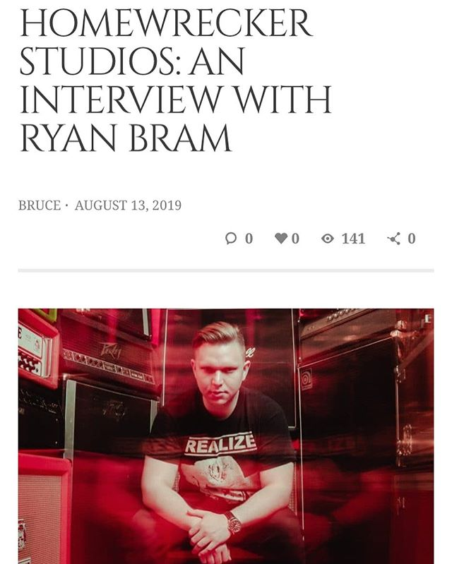 Had the pleasure of doing a great little interview about myself and the studio with @haloinagaystack. Head over to @cvltnation to check it out! Link below and in my profile. Awesome photos courtesy of @pawlievee  https://www.cvltnation.com/homewrecker-studios-an-interview-with-ryan-bram/  #cvltnation #homewreckerstudios #territoryhc #languishgrind