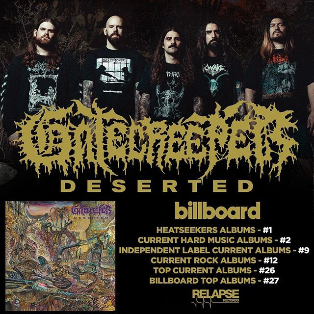 Holy shit!! I guess I now have a chart topping record under my belt (!?) Huge thanks to everyone who has downloaded, purchased streamed or supported DESERTED in any way. Very thankful and blown away at how well the album has been received.  Congrats to the boys as well as @godcitymusic and @audiosiege! Everyone worked extremely hard for this record and nobody puts in work like @gatecreeper. Very excited for everything coming their way.  #gatecreeper #gatecreeperdeserted #relapserecords #billboardcharts