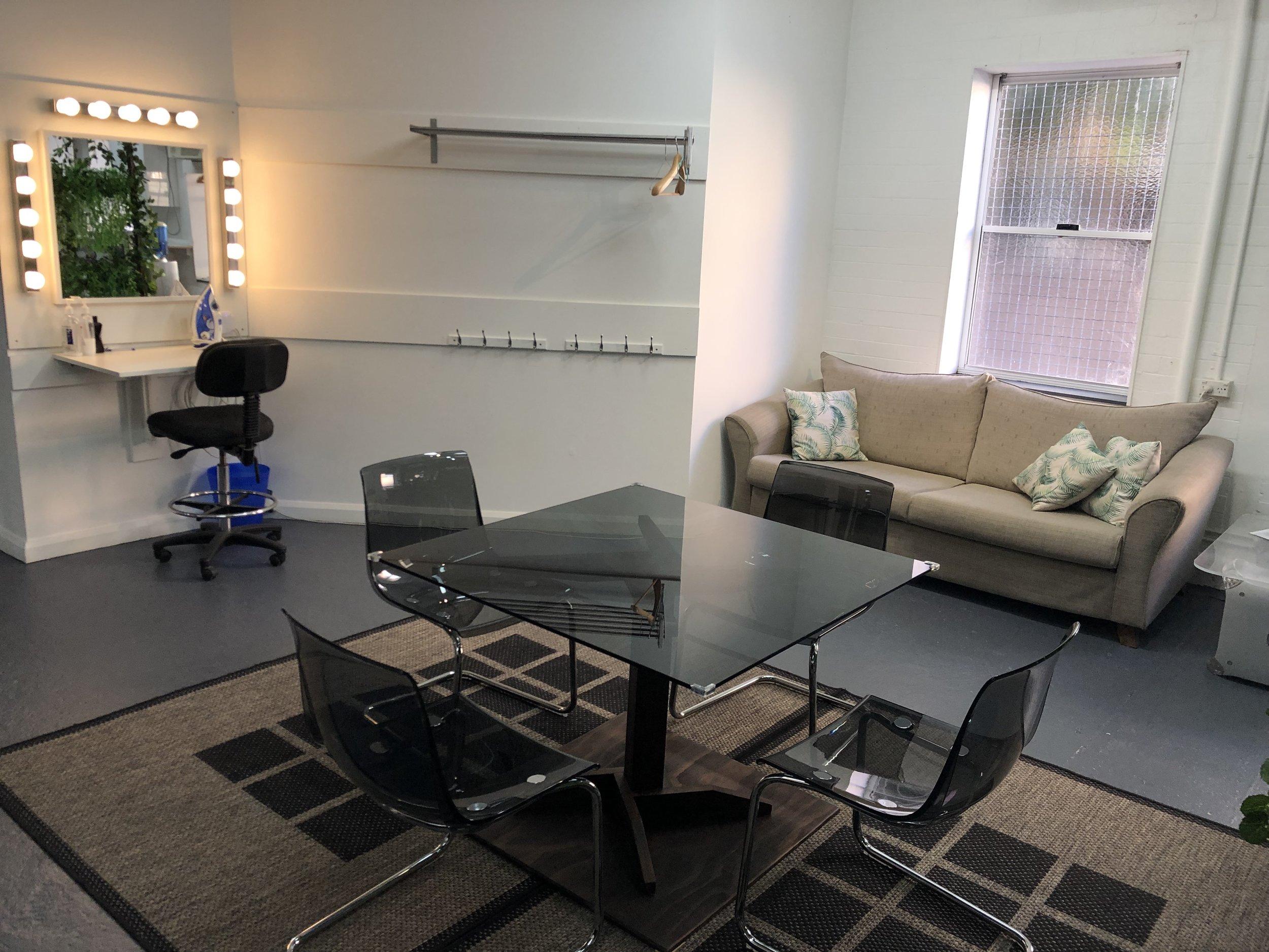 Makeup & studio waiting areas