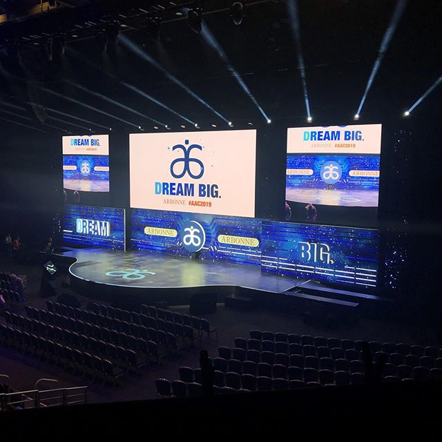 It's a massive set! We have the Honour of having used more LED screen in the GCCEC than anyone else ever in one set design. #showjockey #setdesign  #conferences