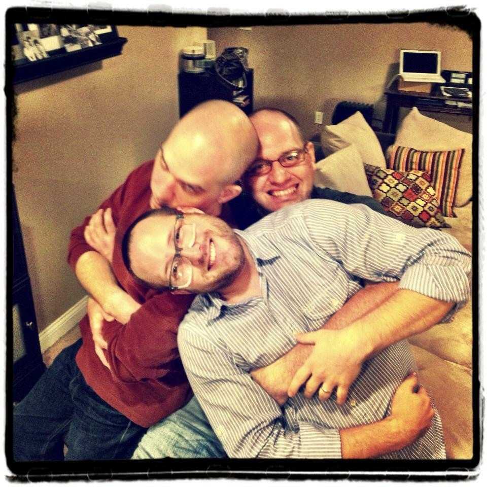 This was at our other friend Josh's house for one of our holiday gatherings. I love these guys. Notice the change in bald to hair situation.