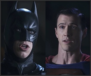 Before Ben got a chance to take on Superman Pete donned the Dark Knight suit to give the Man of Steel a piece of his mind.