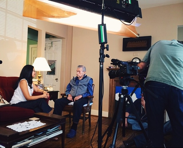 Doris with Ken during of the shoot of the documentary we're still editing.
