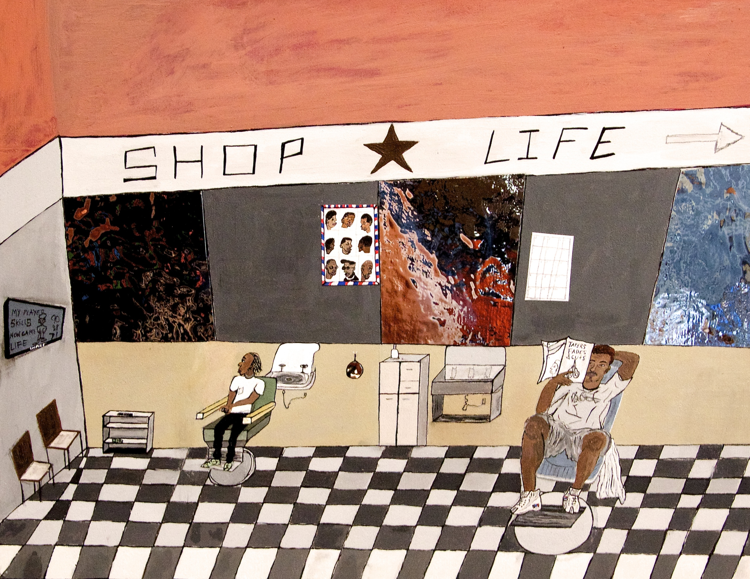 SHOP LIFE (sold) 12 x 16 acrylic and mixed media 2015