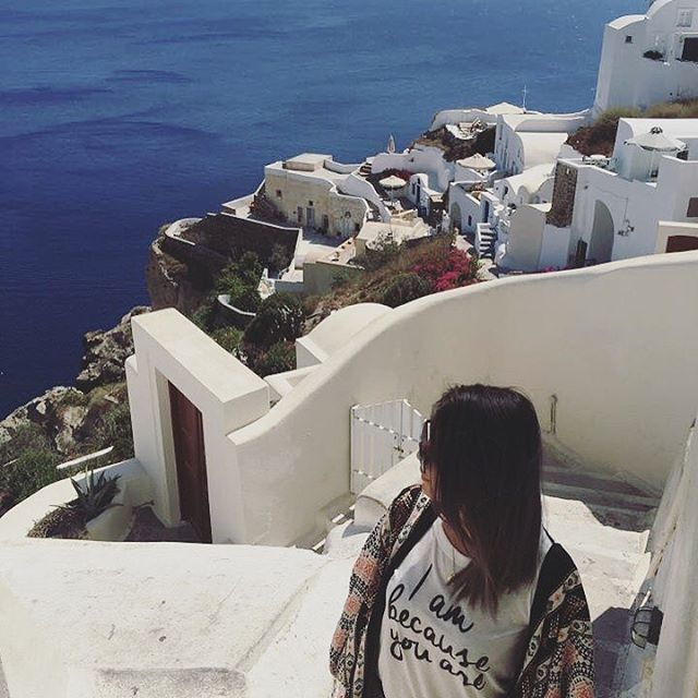 The tee that travels ✈�. @bigheadcharlies_angel in the #IAmBecauseYouAre tee at the Aegean Sea. #ecogirlbehavior #shopfarai