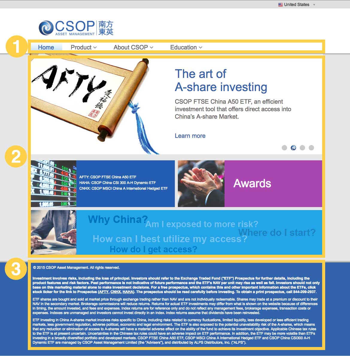 original homepage - 1. Main navigation needs to be redesigned, to accommodate additional categories that the client added.2. The modularized look makes the homepage very clean. However, information on the homepage needs to be organized better.3. The footer takes a chunk of screen space, which produces unnecessary visual chaos.