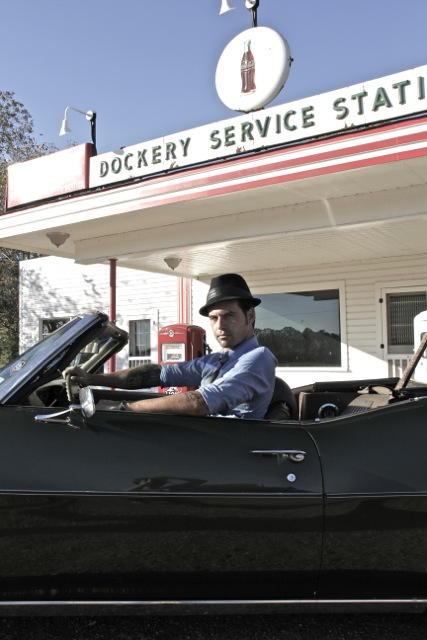 Manu Lanvin in Kossman's 1972 LeMans convertible at historic Dockery Farms, known around the world as the birthplace of the Blues.