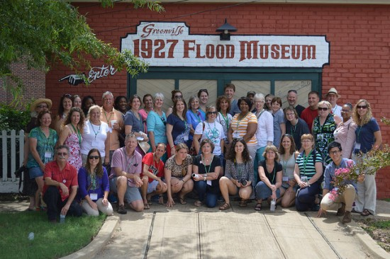 Participants and staff of the June, 2014 Most Southern Place workshop stopped for a photo at the 1927 Flood Museum in Greenville.