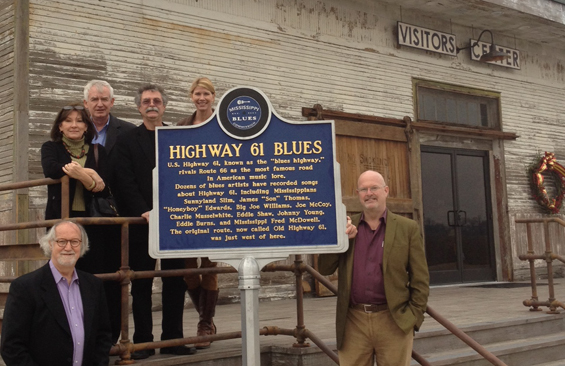 L to R- Willie Bearden, museum consultant, Wanda Clark and Allan Hammons of Hammons and Associates, Mississippi Blues Trail designers, Luther Brown, Delta Center and MS Delta National Heritage Area, Mary Beth Wilkerson, MDA/Mississippi Tourism, and Scott Blake, museum consultant.