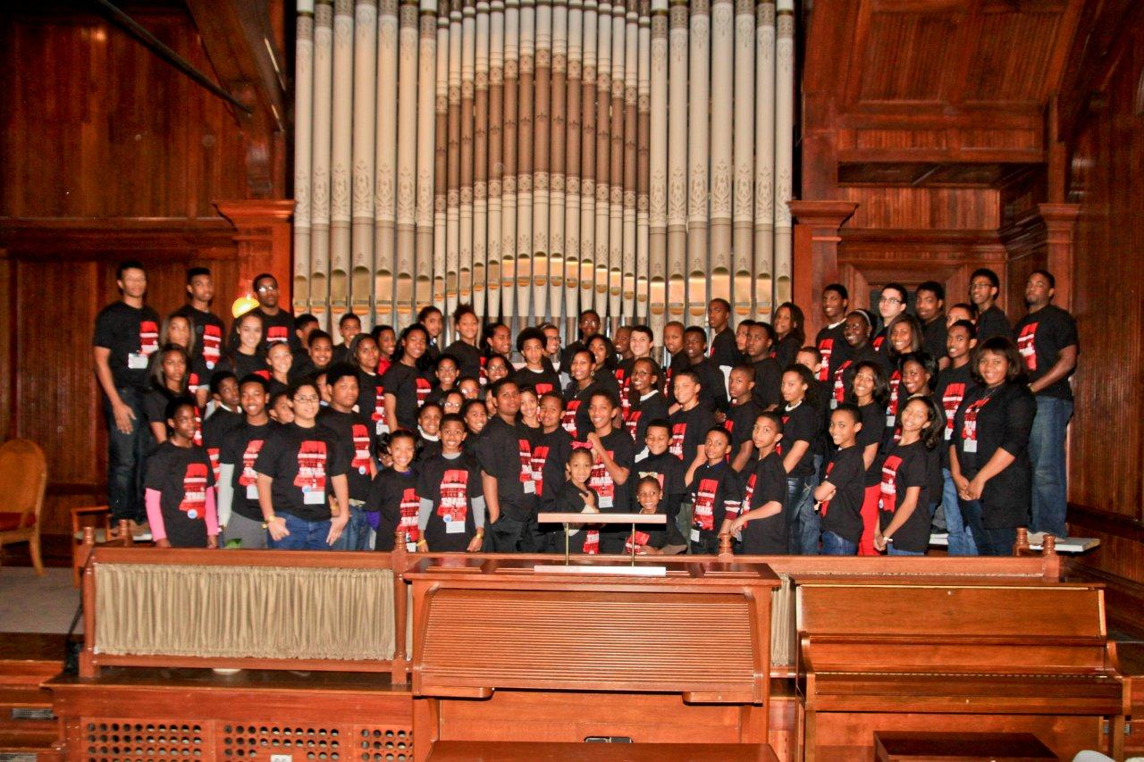 PHOTO: The students on the Jack and Jill tour, in the chapel at Tugaloo College in Jackson. Photo by Joli Cooper.