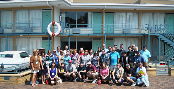 Participants in The Delta Center for Culture and Learning workshop gather for a photo while touring Memphis.