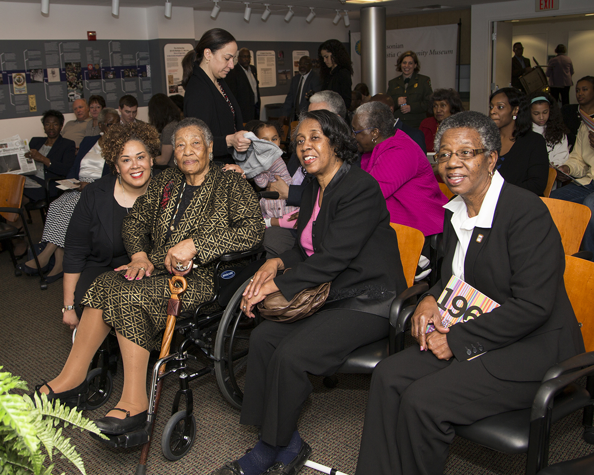 Alysia Burton Steele with Mrs. Campbell and her daughters Alma Campbell and Emily Harris. Steele is a Pulitzer Prize-winning photojournalist and professor of journalism at the University of Mississippi. Her book, Delta Jewels, has been entered into the Library of Congress. (Photo courtesy of Smithsonian Institution)
