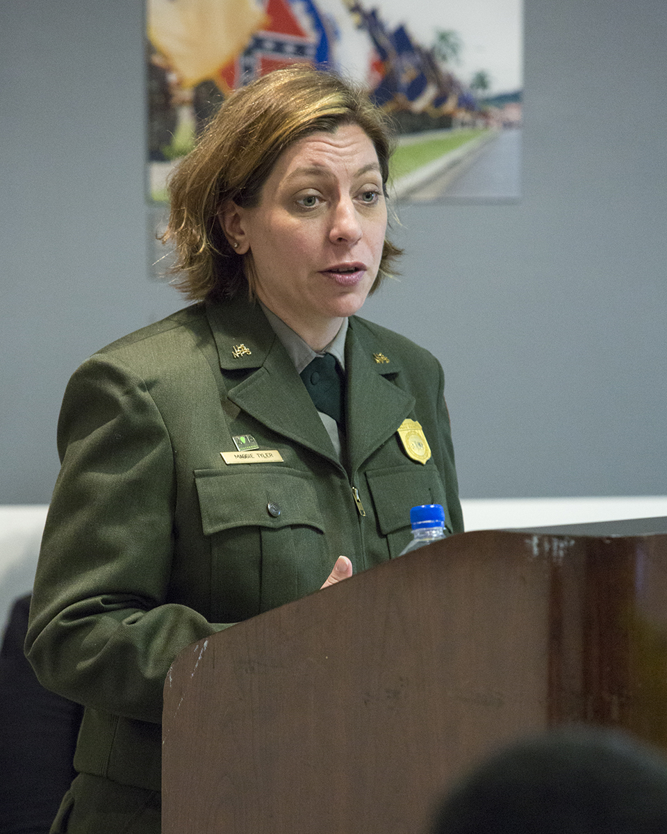Maggie Tyler, Program Manager for National Heritage Areas with the National Park Service Southeast Region, speaks about the National Park Service Centennial's emphasis on creating the next generation of park goers and engaging historically underrepresented communities. All 49 Congressionally-designated National Heritage Areas are designed to tell nationally significant stories that celebrate diverse cultural heritage through partnerships, collaboration, and community engagement. (Photo courtesy of Smithsonian Institution)