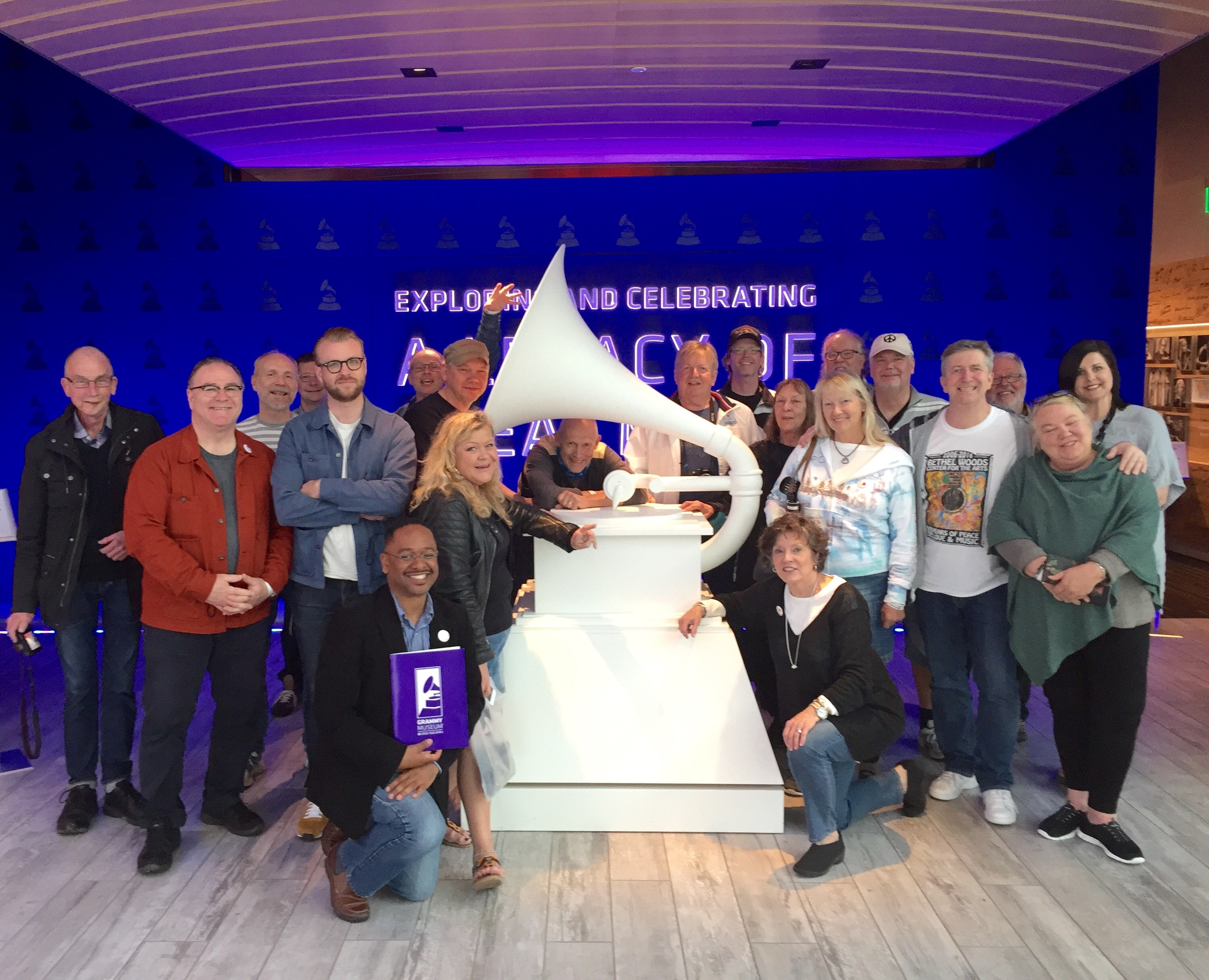A giant replica of the GRAMMY award greets visitors at the entrance of the new museum in Cleveland, and the group of travelers from Sweden takes advantage of the iconic symbol for a group photo. Joining the tour are Dr. Rolando Herts (bottom left), director of the Delta Center forCulture and Learning, Lee Aylward (bottom right), the Delta Center's Program Associate for Education and Community Outreach, and Emily Havens (back right), Director of GRAMMY Museum Mississippi.