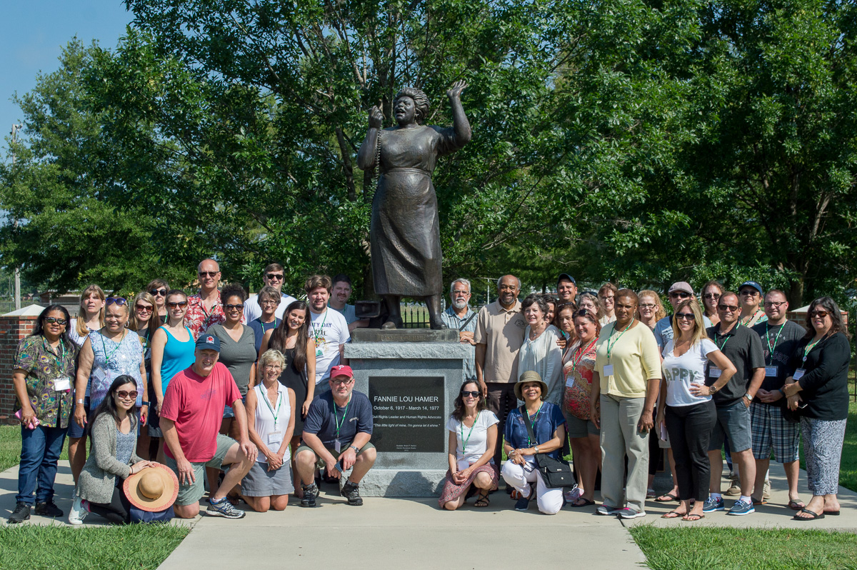 "The Delta Center's ""Most Southern"" workshop participants at the Fannie Lou Hamer memorial garden in Ruleville. The workshop will be presented again in June and July 2017. through generous support from the National Endowment for the Humanities."""