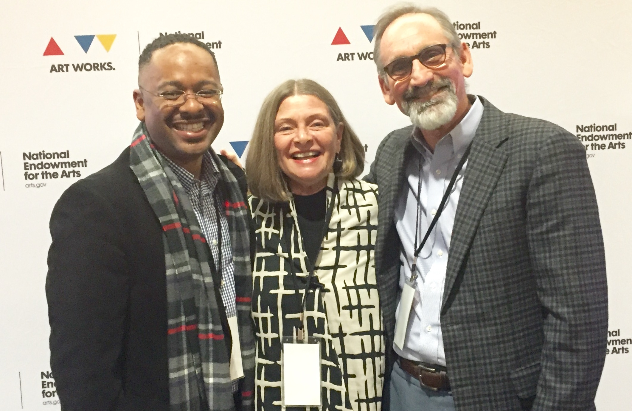 "Dr. Rolando Herts with Susie Surkamer, Executive Director of South Arts, and Malcolm White, Executive Director of the Mississippi Arts Commission, at ""The Future of Arts and Creativity"" convening in Washington, DC."