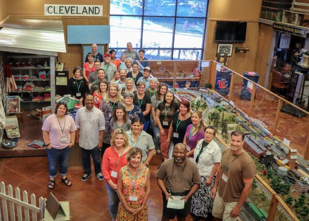 June 2018 NEH Most Southern Institute participants gather with Delta Center staff members Dr. Rolando Herts and Lee Aylward at the Martin and Sue King Railroad Museum, Cleveland, Mississippi (Photo credit: Mike Fagans/Lawton Ives/Jake Sheridan)