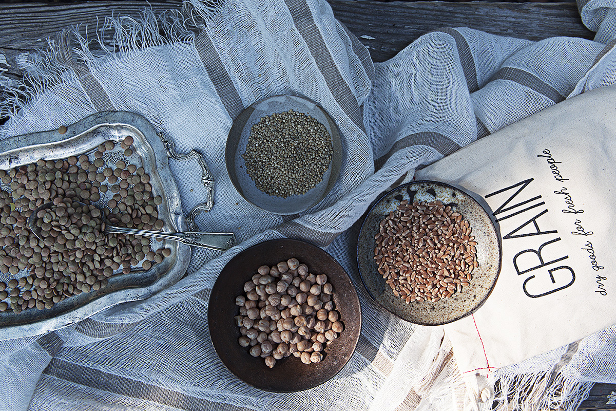 Clockwise from left: GRAIN's Laird Lentils, Golden Quinoa, Wheat Berries, and Kabuli Chickpeas. These four GRAIN products are available for purchase on our store shelves.