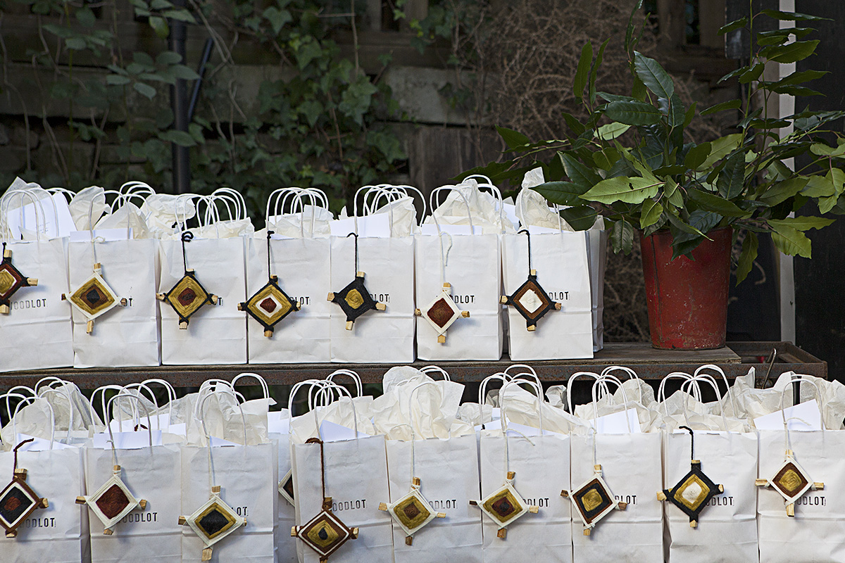 Woodlot gift bags include bath salts, a bar of their soap, 'God's eyes' ornaments handcrafted from Palo Santo sticks (by the talented Danica Kaspar), and sweets bags with treats from Livia Sweets.