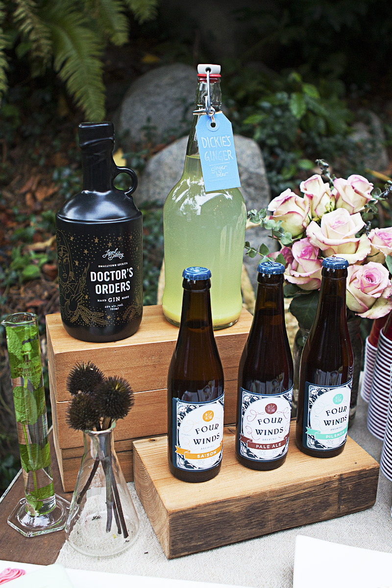 A selection of local beverages on offer: Four Winds, Legend Naramata, Dickie's Ginger.