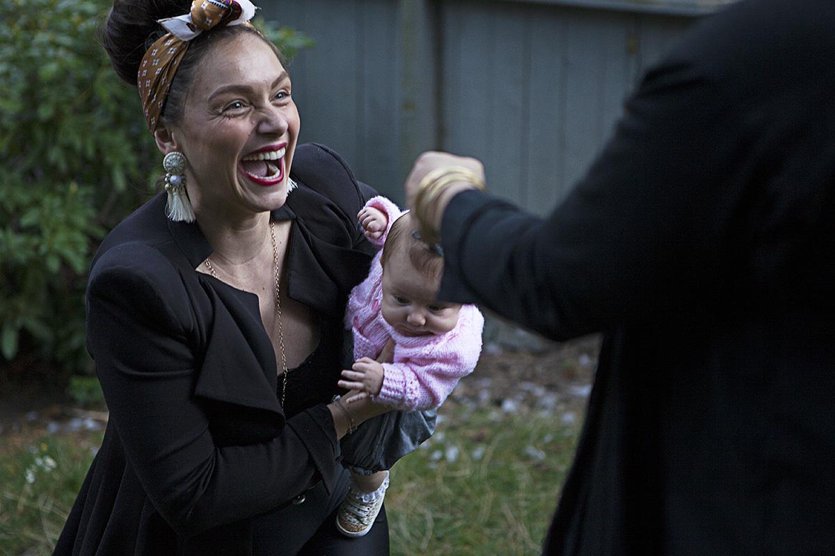 Local children's book author, Linnie von Sky, arrives with her baby daughter, Ella.