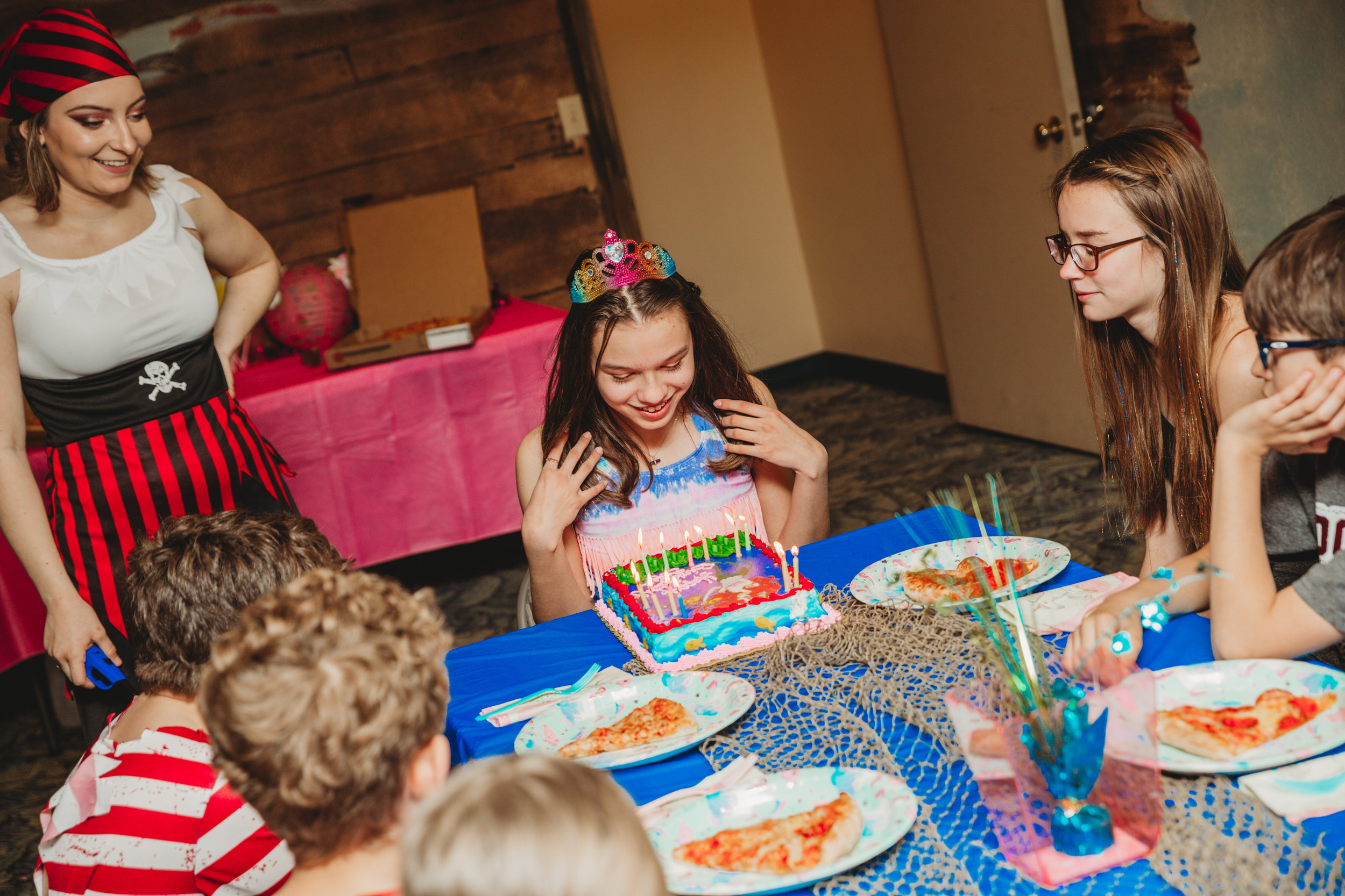 Birthday Parties - Memorable all-inclusive birthday parties where the guests transform into a mermaids or pirates! If your little mermaid is nervous about actually wearing a mermaid tail, we have lessons for that.Birthday Party Options