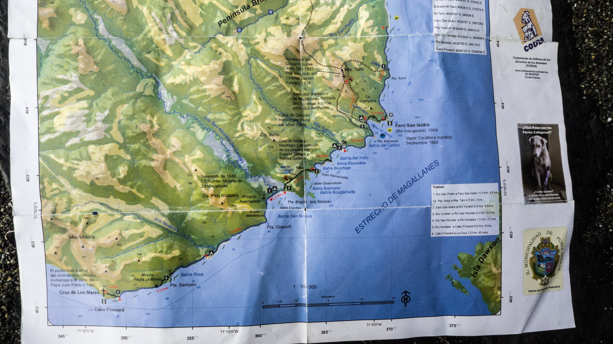 Map of the route to Cabo Froward (go to  http://www.omnimap.com/  to purchase)