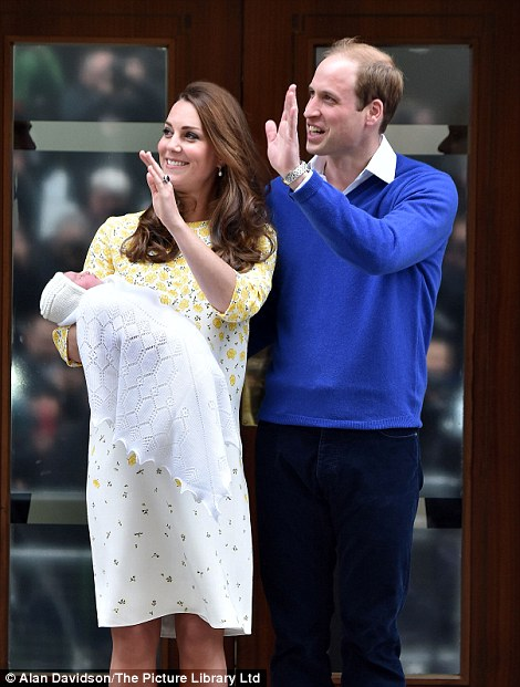 Royal couple greets the crowds with their baby daughter.
