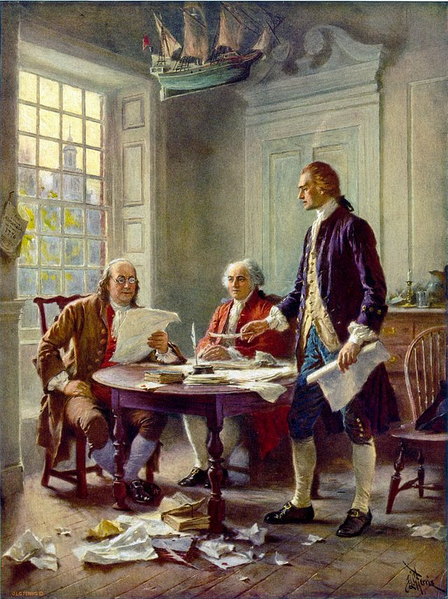 Franklin, Adams, and Jefferson working on the Declaration of independence. Painter, Jean leon gerome ferris, 1900