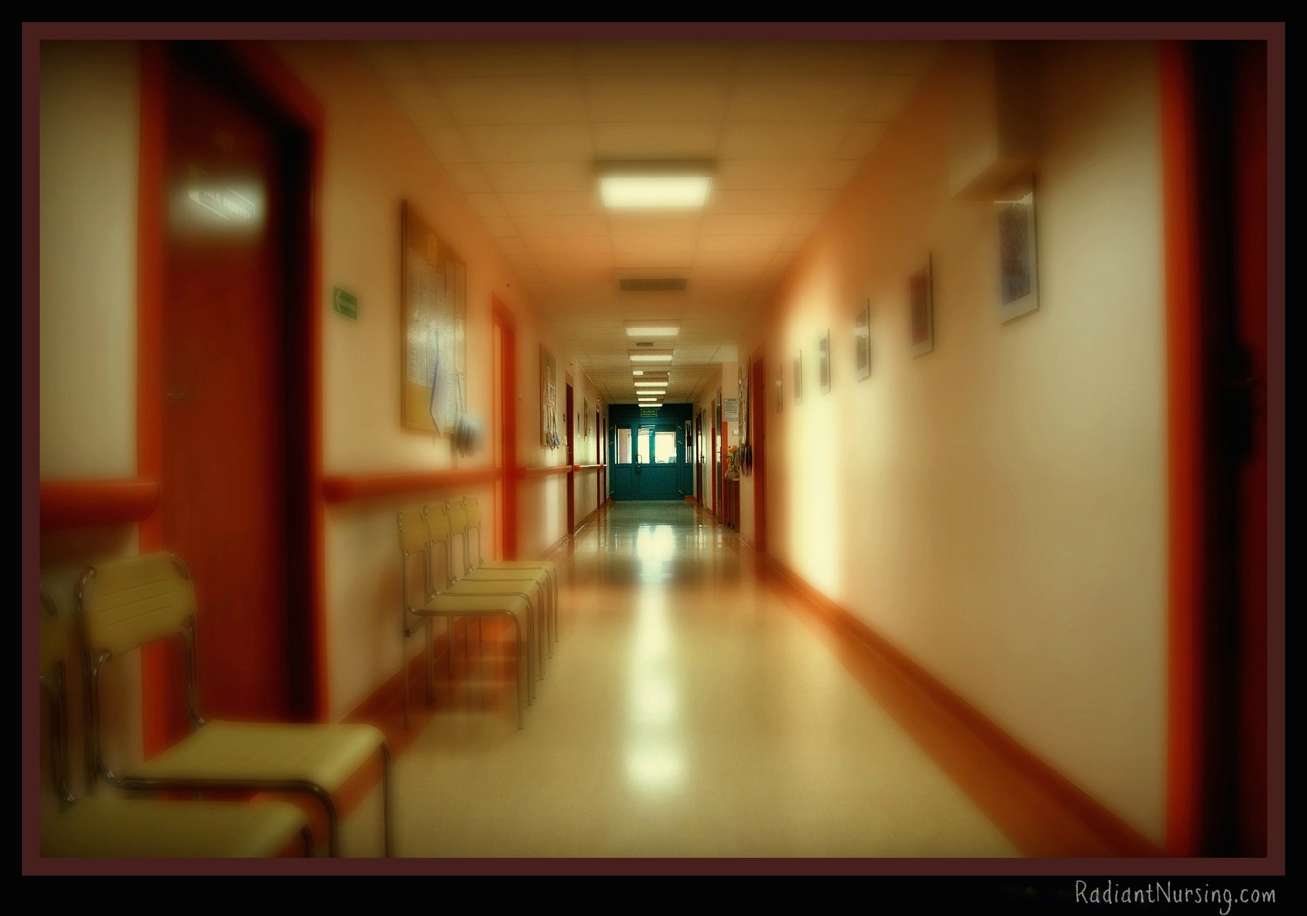 The hospital hallways when your father is dying.