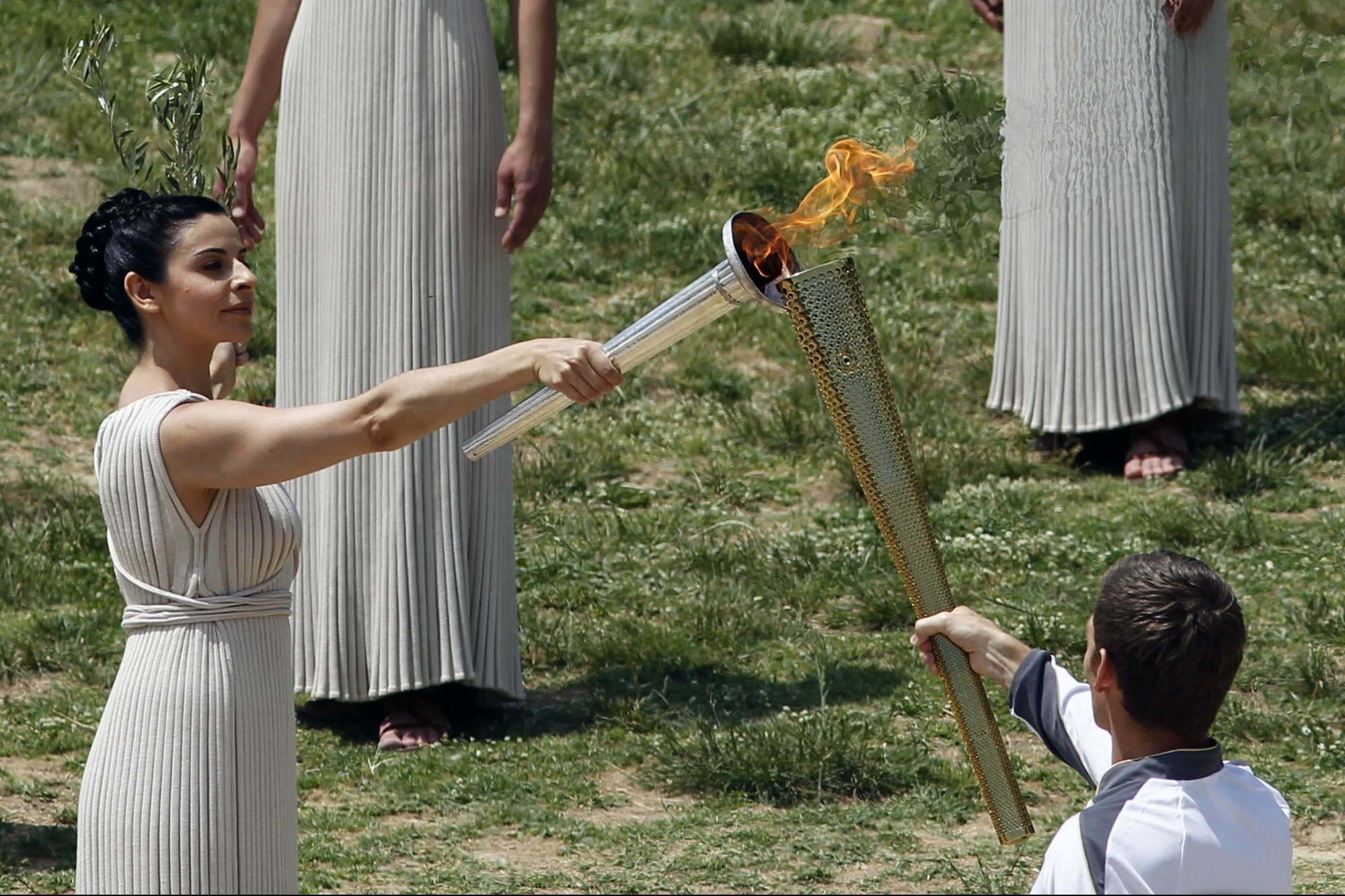 The Olympic Flame lit in Greece for the London Summer Games 2012.