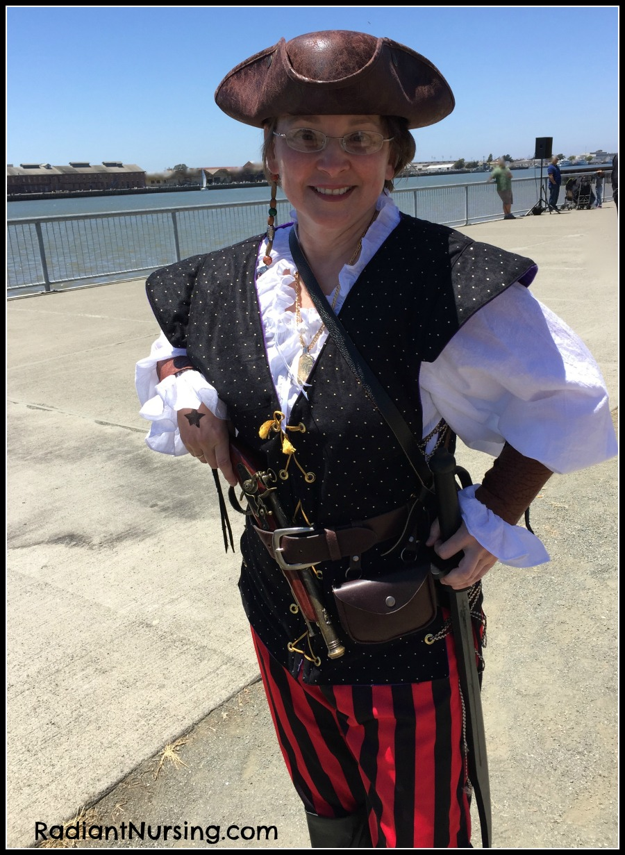 With a new cotton shirt and a Hunter's vest for my pirate costume.