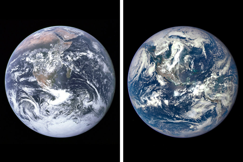 Two photos of Planet Earth from space – 40 years apart.  Say hello!