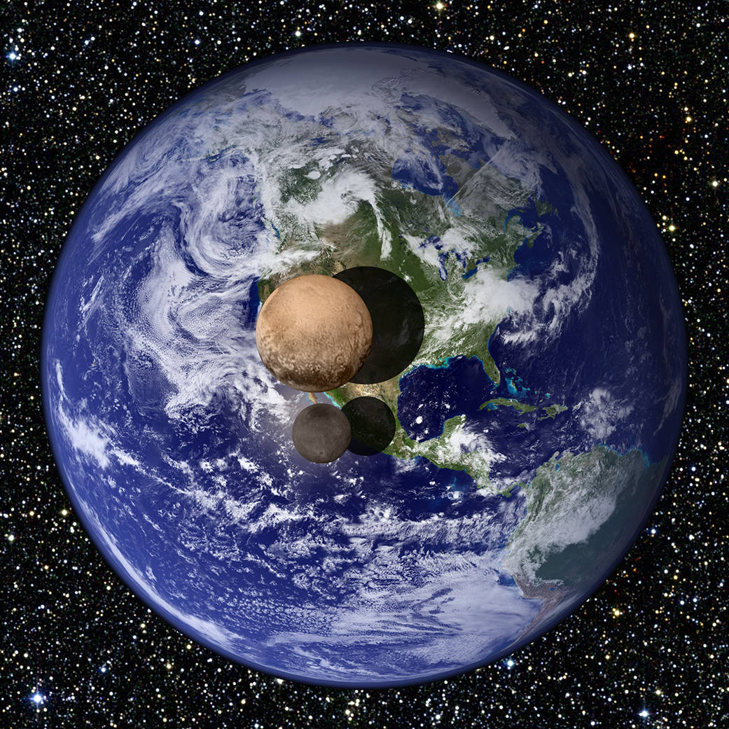 Pluto and its moon, Charon, in comparison of size to planet Earth.