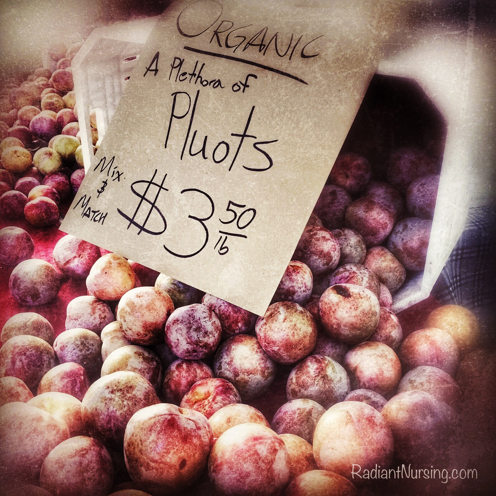 A vendor with a sense of alliteration. Selling pluots at the Davis farmers market.