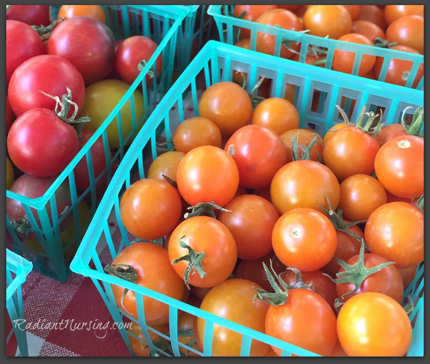 Cherry tomatoes from the Davis farmers market. Eating fresh and organic.