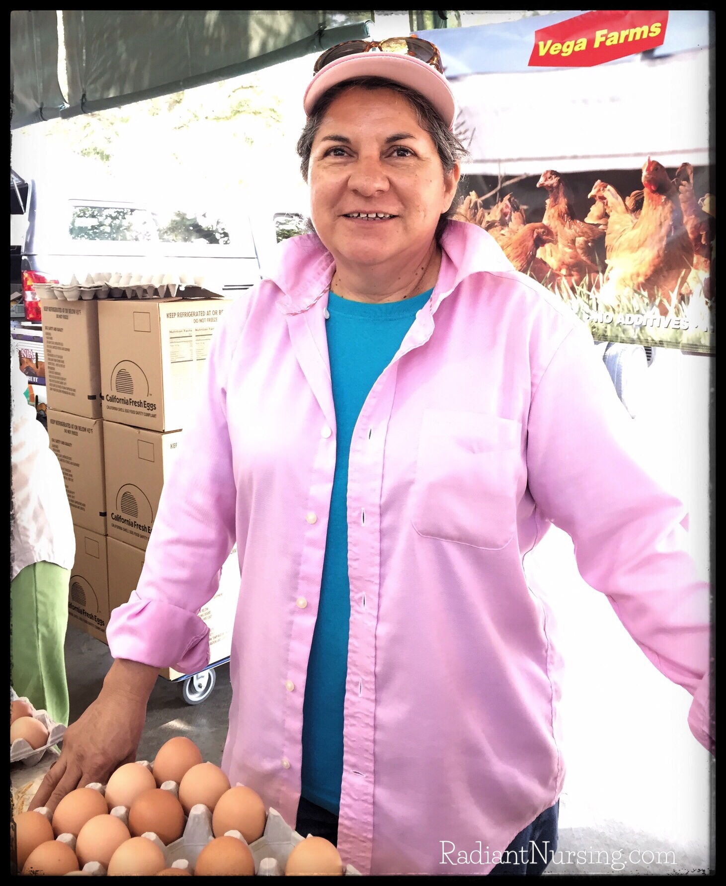 Teresa sells eggs at the farmers market. I buy from her all the time.
