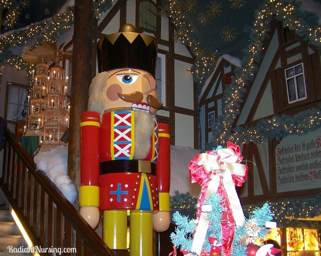 A giant nutcracker in a Christmas store in Germany.