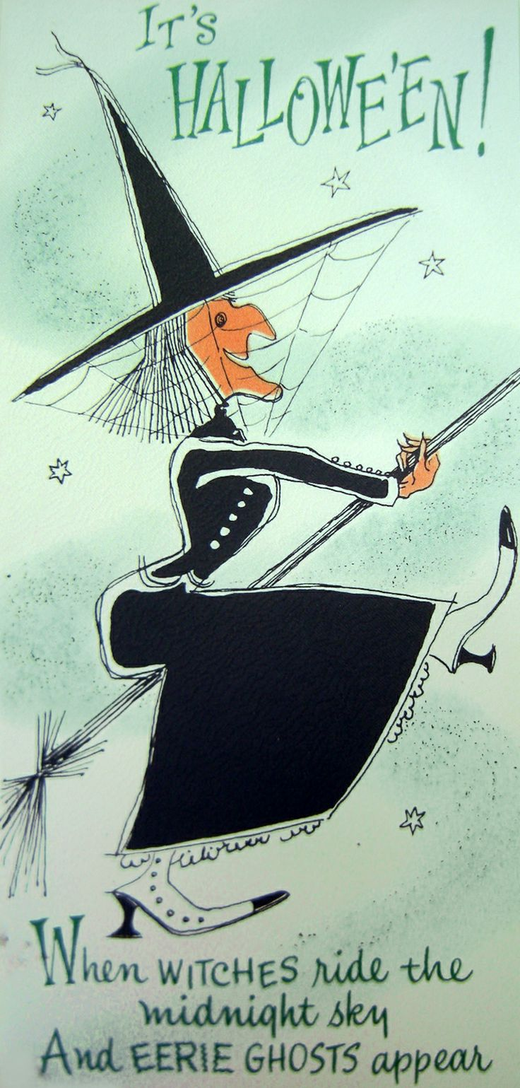 The Witch at Halloween flying on her broomstick.