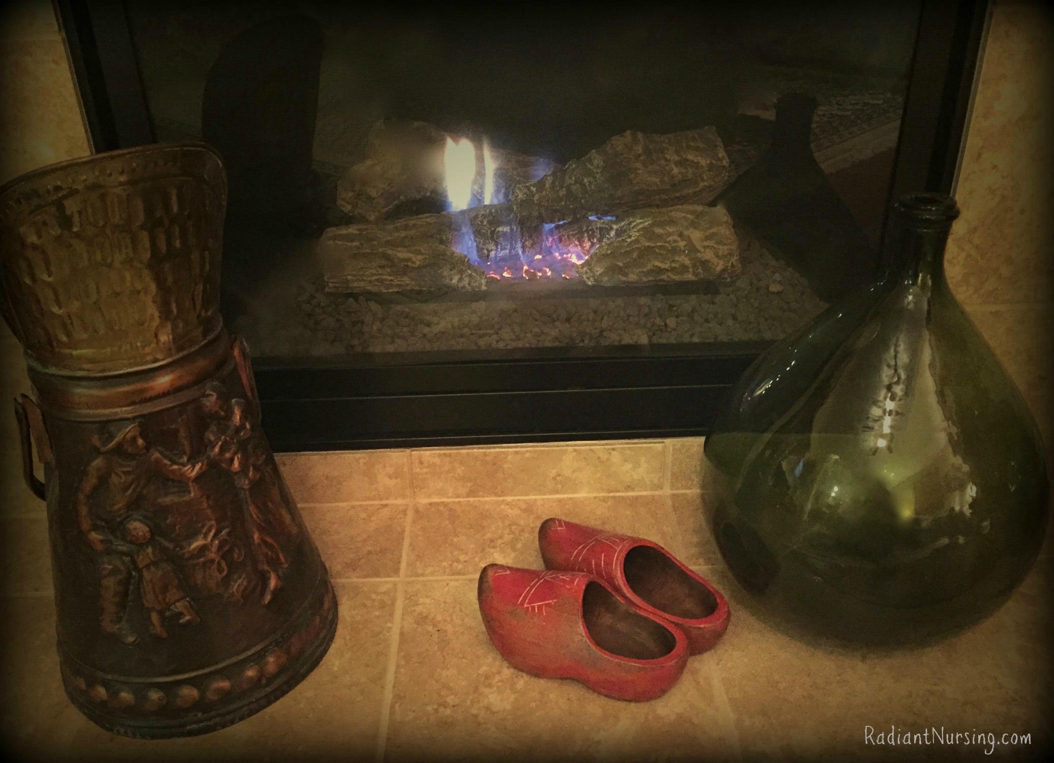 Wooden shoes are placed in front of the fire for the Feast Day of Saint Nicolas